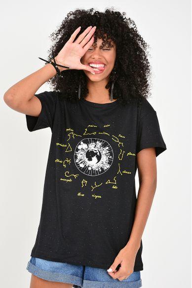 T-shirt Zodíaco - PRETO