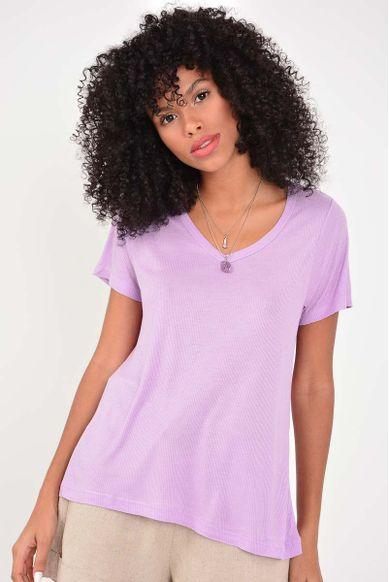 T-shirt Basic Decote V - LILAS