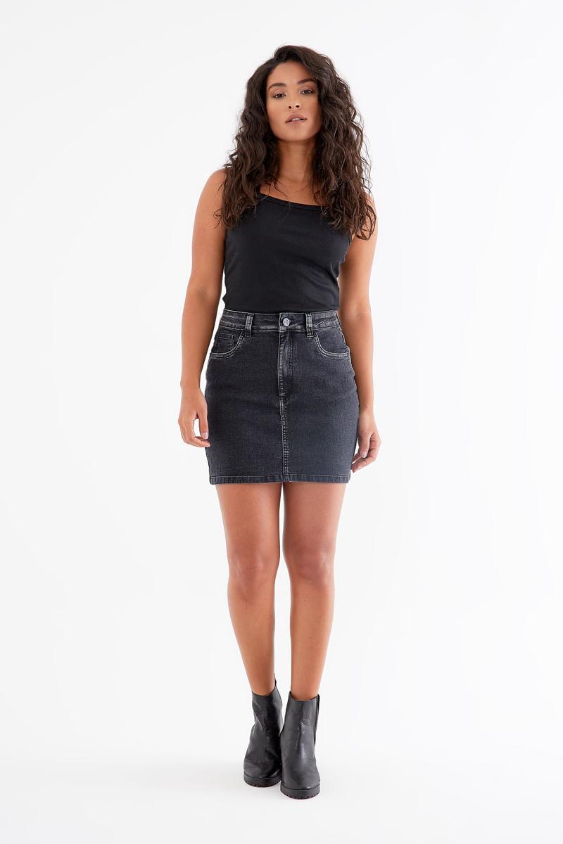 Saia Jeans Black - JEANS BLACK
